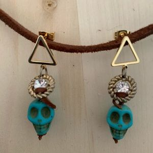 Dia de los Muertos Earrings, Gold/Turquoise